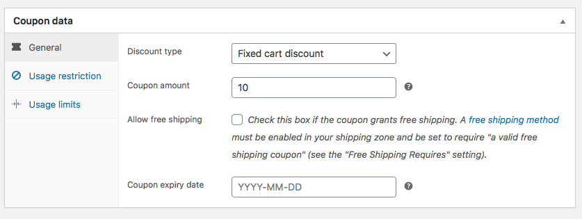 WooCommerce Coupons data